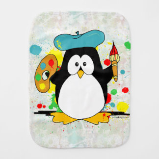 Artistic Penguin Baby Burp Cloth