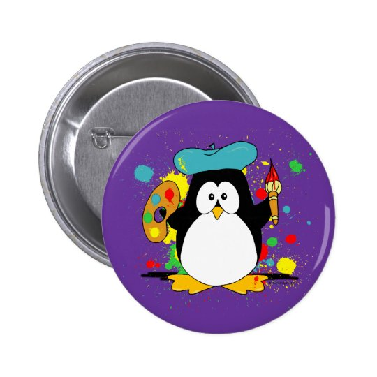 Artistic Penguin Cartoon Button