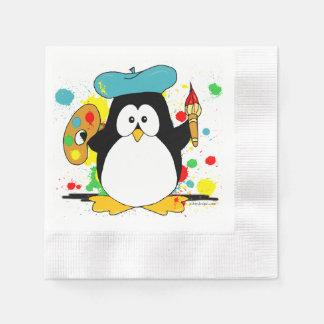 Artistic Penguin Painter Graphic Paper Napkin