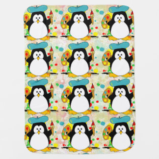 Artistic Penguin Painter Pattern Swaddle Blanket