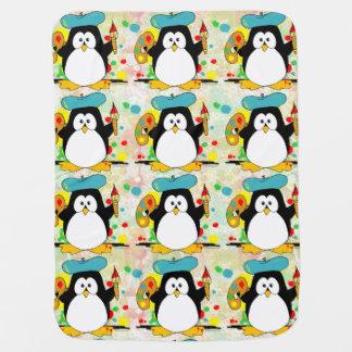 Artistic Penguin Painter Pattern Stroller Blankets