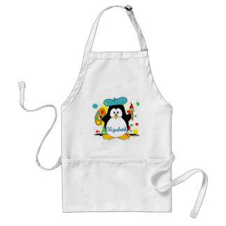 Artistic Penguin Painter Personalize Adult Apron
