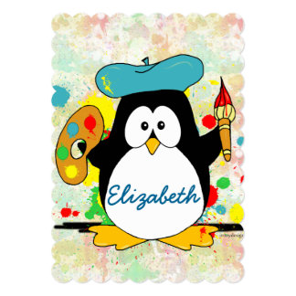 "Artistic Penguin Painter Personalize 5"" X 7"" Invitation Card"