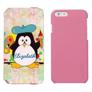 Artistic Penguin Painter Personalize iPhone 6/6s Wallet Case