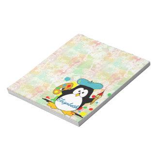 Artistic Penguin Painter Personalize Notepad