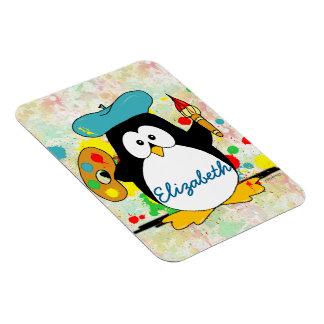 Artistic Penguin Painter Personalize Rectangular Photo Magnet