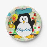 Artistic Penguin Painter Personalize 7 Inch Paper Plate
