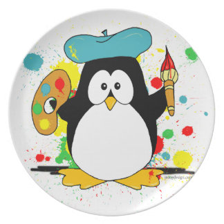 Artistic Penguin Plate