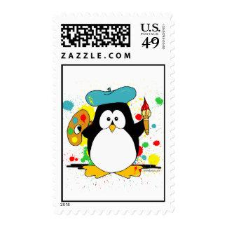 Artistic Penguin Postage Stamp