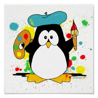 Artistic Penguin Print poster