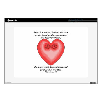 Artistic Pink Heart / Love Bible Verse Skins For Laptops