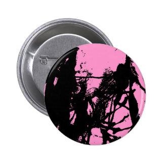 Artistic pink ink black texture pinback button