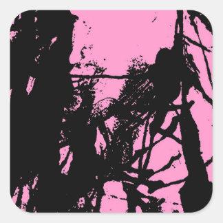Artistic pink ink black texture sticker