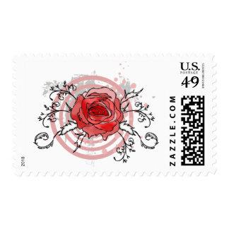 Artistic pink rose spiral floral postage stamps