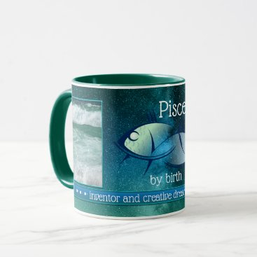 Beach Themed Artistic Pisces Personalized Photo Mug