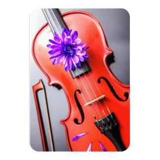 Artistic Poetic Violin & Violet Flower Invitation