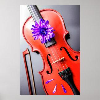 Artistic Poetic Violin with Violet Flower Poster