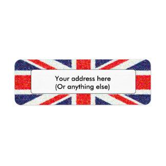 Artistic Pointillist UK Union Jack Flag Label