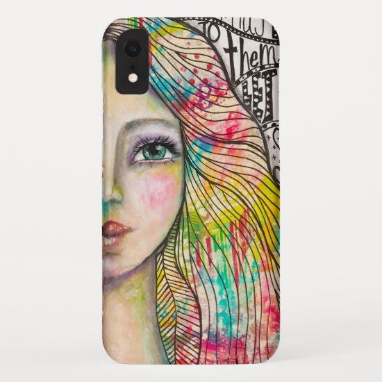 Artistic Portrait Girl Bold Bright Black White Fun iPhone XR Case