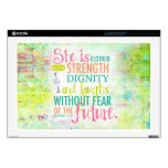 "Artistic Proverbs 31:25 17"" Laptop Skins"