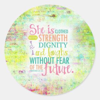 Artistic Proverbs 31:25 Classic Round Sticker