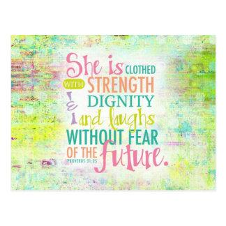 Artistic Proverbs 31:25 Postcard