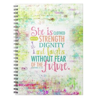 Artistic Proverbs 31:25 Spiral Notebook