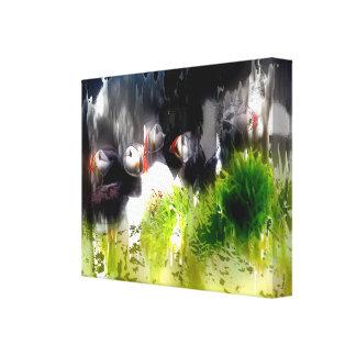 Artistic Puffins Canvas Print