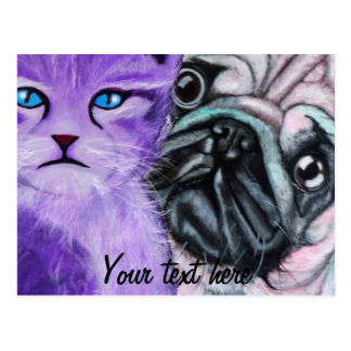 Artistic Pug Dog and cat Postcard