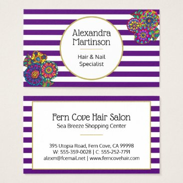 Professional Business Artistic Purple White Striped Hand Drawn Floral Business Card