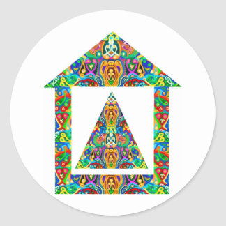 Artistic Pyramid House Classic Round Sticker