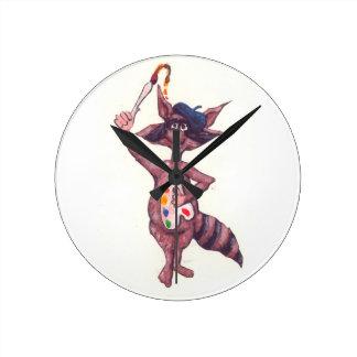 Artistic Raccoon Round Wallclock