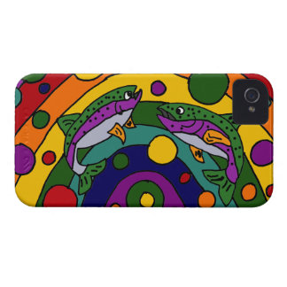 Artistic Rainbow Trout Fish Abstract iPhone 4 Case-Mate Case