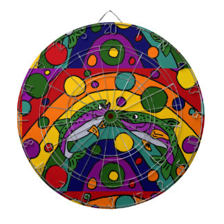 Artistic Rainbow Trout Fish Abstract Dartboard