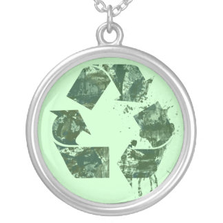 Artistic Recycle Symbol Round Pendant Necklace