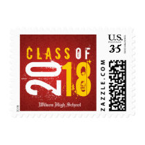 Artistic Red and Yellow Class of 2018 Postage