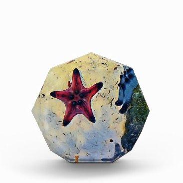 Beach Themed Artistic Red Blue Starfish On Sand Acrylic Award
