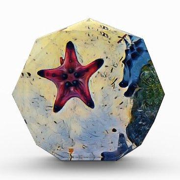 Beach Themed Artistic Red Blue Starfish On Sand Award