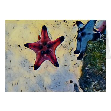 Beach Themed Artistic Red Blue Starfish On Sand Card