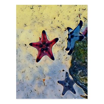 Beach Themed Artistic Red Blue Starfish On Sand Postcard