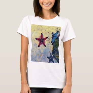 Beach Themed Artistic Red Blue Starfish On Sand T-Shirt