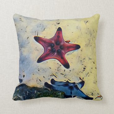Beach Themed Artistic Red Blue Starfish On Sand Throw Pillow