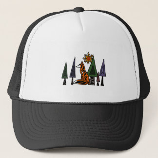 Artistic Red Fox in the Forest Art Trucker Hat