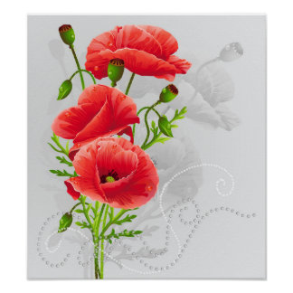 Artistic Red Poppies Poster