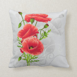 Artistic Red Poppies Throw Pillow
