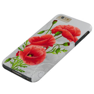 Artistic Red Poppies Tough iPhone 6 Plus Case
