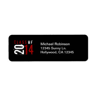Artistic Red white black Class of 2014 Return Address Label