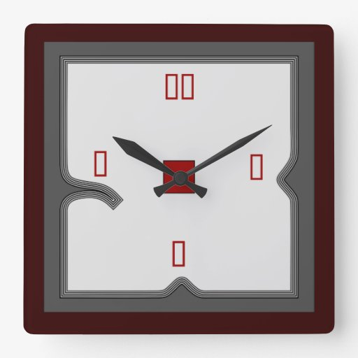 Artistic Red White Grey Wall Clock Zazzle