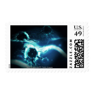 Artistic rendering of cancer cells postage
