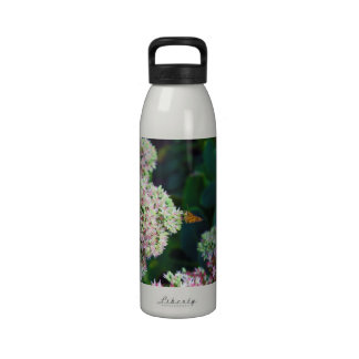 Artistic Rendition of Butterfly Perched on Flowers Water Bottles